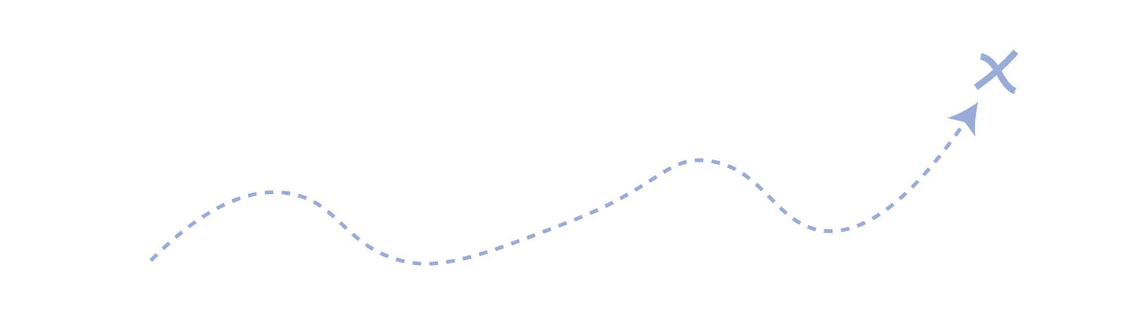 Vector image of a dotted line leading to an X   'X' marks the spot