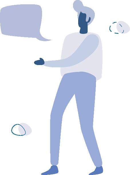 Man talking with a speech bubble