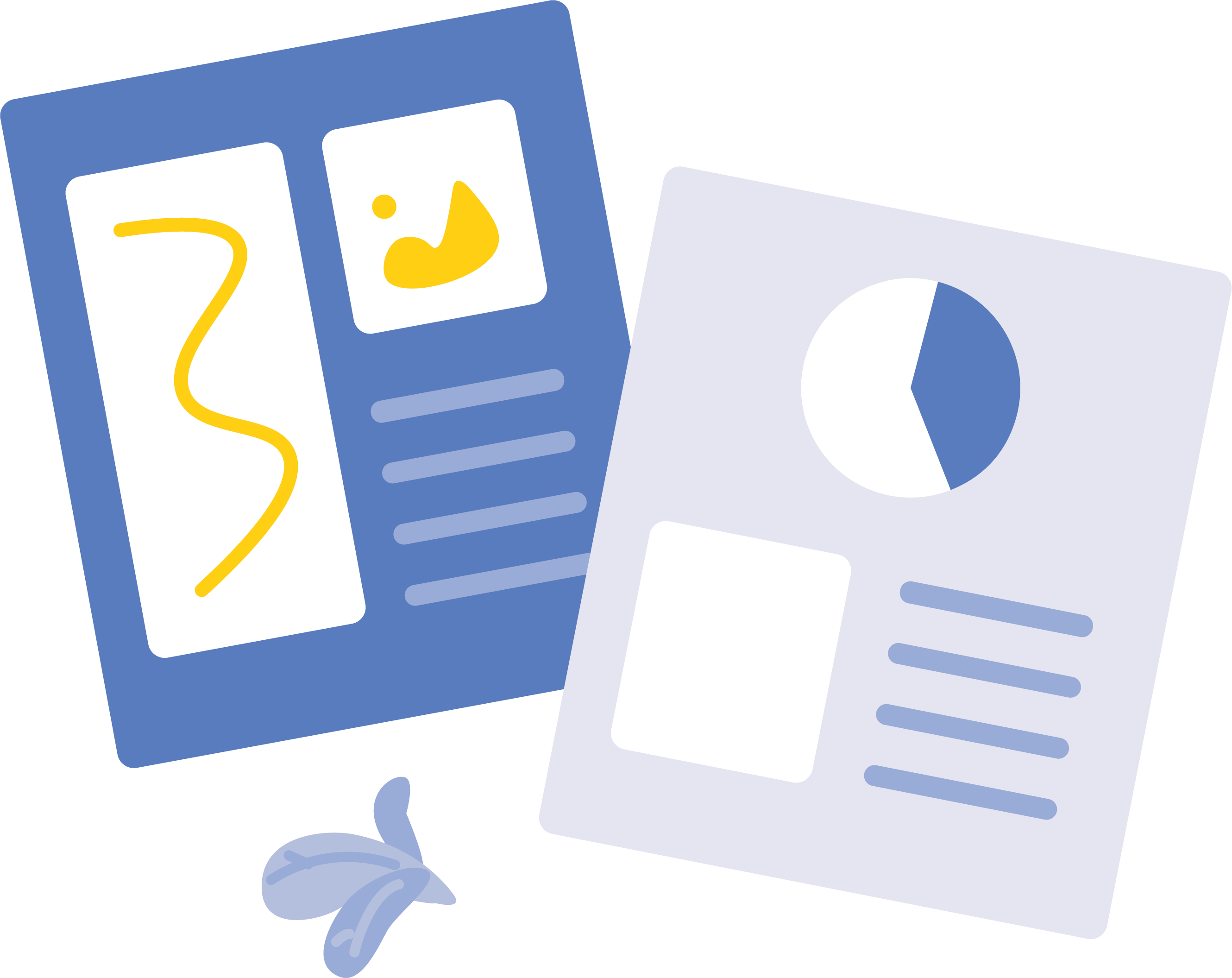 Two PDF icons with charts